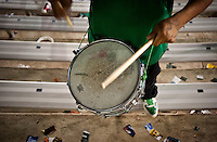 A fan plays a drum after an exhibition game between Mexico and Colombia at the Cotton Bowl in Dallas, Texas, USA, Wednesday, Sept., 30, 2009. Colombia won the game 2-1, which was played as the second game of a double header after an FC Dallas soccer game in an attempt by Major League Soccer to draw a new crowd of hispanic people to the sport in the US...PHOTOS/ MATT NAGER