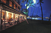 Dining at Halekulani Hotel, located on the Waikiki beach front in Honolulu, with a view of Diamond Head