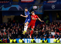 25th February 2020; Stamford Bridge, London, England; UEFA Champions League Football, Chelsea versus Bayern Munich; Olivier Giroud of Chelsea and Joshua Kimmich of Bayern Munich compete for the header