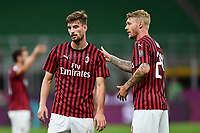 Matteo Gabbia and Simon Thorup Kjaer of AC Milan  during the Serie A football match between AC Milan and Atalanta BC at stadio Giuseppe Meazza in Milano ( Italy ), July 24th, 2020. Play resumes behind closed doors following the outbreak of the coronavirus disease. <br /> Photo Image Sport / Insidefoto