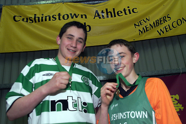 Micheal Dowling, silver medalist and Sean Mallon, bronze medalist, forCushinstown AC, in the Leinster indoor finals in Nenagh..Picture: Arthur Carron/Newsfile