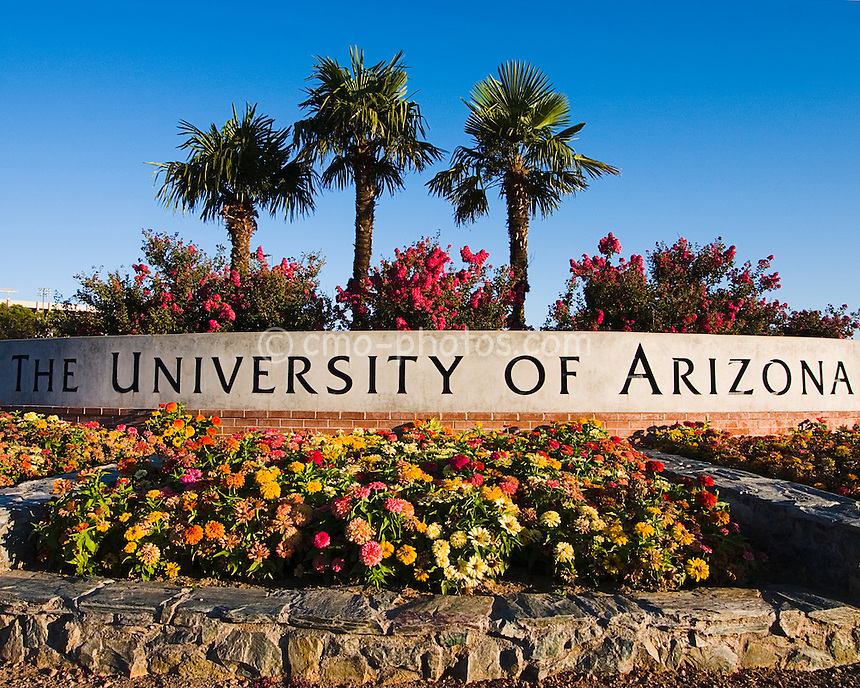 University of Arizona entrance sign found at the corner of Campbell Ave and 6th Street.