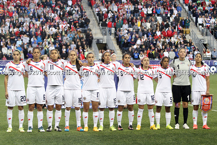 26 October 2014: Costa Rica's starters. From left: Wendy Acosta (CRC), Carol Sanchez (CRC), Raquel Rodriguez Cedeno (CRC), Katherine Alvaredo (CRC), Melissa Herrera (CRC), Cristin Granaldos (CRC), Daniela Cruz (CRC), Lixy Rodriguez (CRC), Diana Saenz (CRC), Dinnia Diaz (CRC), and Shirley Cruz (CRC). The United States Women's National Team played the Costa Rica Women's National Team at PPL Park in Chester, Pennsylvania in the 2014 CONCACAF Women's Championship championship game. By advancing to the final, both teams have qualified for next year's Women's World Cup in Canada. The United States won the game 6-0.