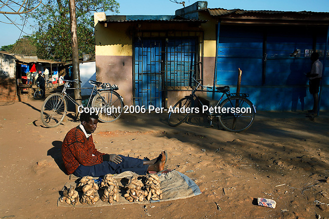 MPHANDULA, MALAWI - AUGUST 19: An unidentified man sells sweet potatoes at a local market on August 19, 2006 in Mphandula village, about 30 miles outside Lilongwe, Malawi. Mphandula is a poor village in Malawi, without electricity or clean water. Nobody owns a car or a mobile phone. Most people live on farming. About 7000 people reside in the village and the chief estimates that there are about five-hundred orphans. Many has been affected by HIV/Aids and many of the children are orphaned. A foundation started by Madonna has decided to build an orphan center in the village through Consol Homes, a Malawi based organization. Raising Malawi is investing about 3 million dollars in the project and Madonna is scheduled to visit the village in October 2006. Malawi is a small landlocked country in Southern Africa without any natural resources. Many people are affected by the Aids epidemic. Malawi is one of the poorest countries in the world and has about 1 million orphaned children. (Photo by Per-Anders Pettersson)