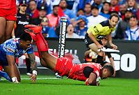 Tonga's Michael Jennings dives over to score a try. Tonga v Samoa, Rugby League World Cup, FMG Stadium, Hamilton, New Zealand. Saturday, 4 November, 2017. Copyright photo: John Cowpland / www.photosport.nz MANDATORY CREDIT/BYLINE : John Cowpland/SWpix.com/PhotosportNZ