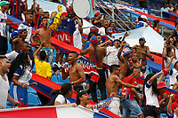 SANTA MARTA- COLOMBIA, 03-08-2019: Hinchas del Unión Magdalena ante el Independiente Medellín durante partido por fecha 4 de la Liga Águila II 2019 jugado en el estadio Sierra Nevada de la ciudad de Santa Marta. /Fans of Union Magdalena agaisnt of Independiente Medellin during match for the date 4 as part of the  Aguila League  II 2019 played at the Sierra Nevada Stadium in Santa Marta  city. Photo: VizzorImage / Gustavo Pacheco / Contribuidor