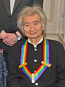 Conductor Seiji Ozawa, one of the five recipients of the 38th Annual Kennedy Center Honors, poses as part of a group photo following a dinner hosted by United States Secretary of State John F. Kerry in their honor at the U.S. Department of State in Washington, D.C. on Saturday, December 5, 2015.  The 2015 honorees are: singer-songwriter Carole King, filmmaker George Lucas, actress and singer Rita Moreno, conductor Seiji Ozawa, and actress and Broadway star Cicely Tyson.<br /> Credit: Ron Sachs / Pool via CNP