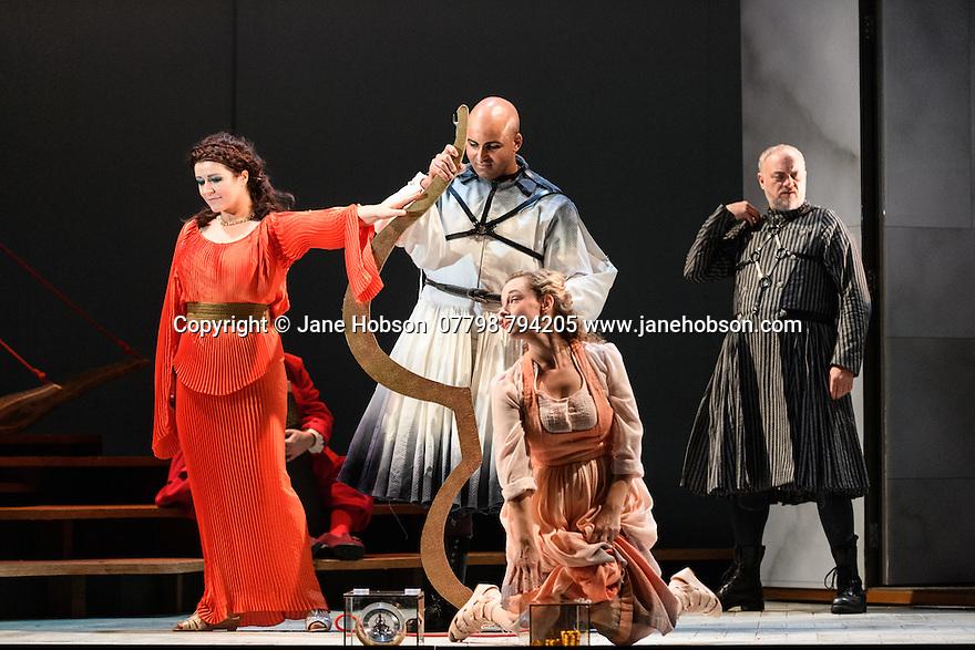 "English Touring Opera presents ""Ulysses' Homecoming"" at the Hackney Empire, prior to its UK tour. Picture shows: Carolyn Dobbin (Penelope), Adam Music (Amphinomous), Martha Jones (Melanto), Andrew Slater (Antinous)"