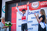 Marc Hirschi (SUI) Team Sunweb takes over the young riders White Jersey at the end of Stage 2 of the Deutschland Tour 2019, running 202km from Marburg to Gottingen, Germany. 30th August 2019.<br /> Picture: ASO/Marcel Hilger | Cyclefile<br /> All photos usage must carry mandatory copyright credit (© Cyclefile | ASO/Marcel Hilger)