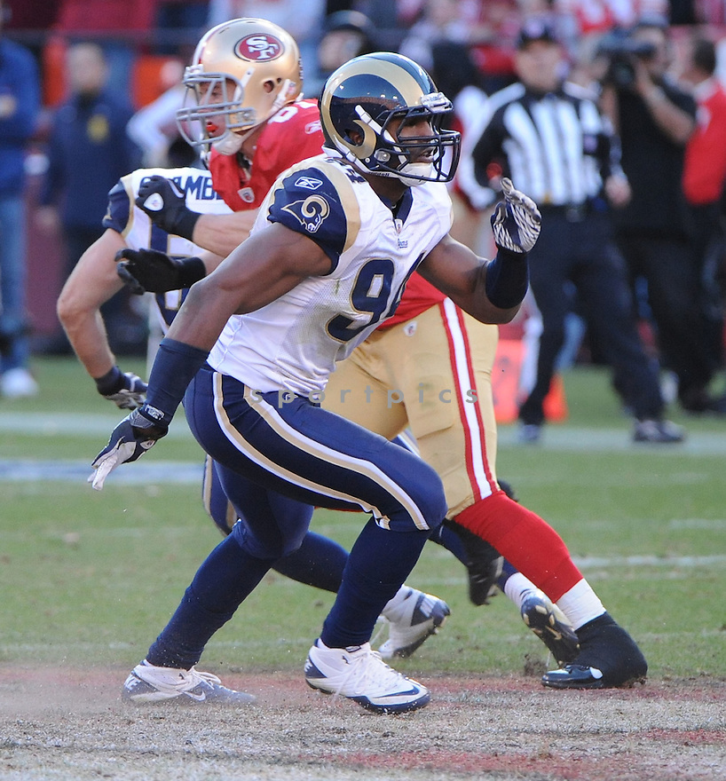 ROBERT QUINN, of the St. Louis Rams, in action during the Rams game against the San Francisco 49ers on December 4, 2011 at Candlestick Park in San Francisco, CA. The 49ers beat the Rams 26-0.