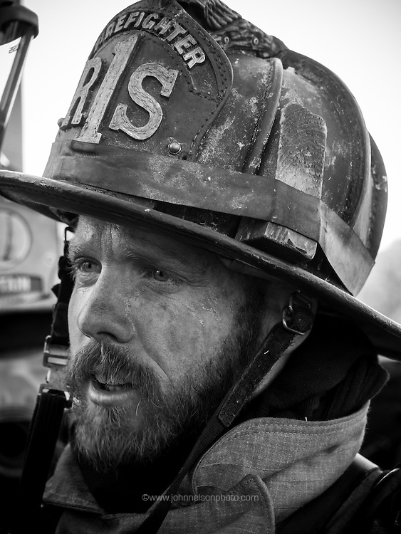 Fire fighter Dennis Carmody at the Live Fire Drill at the Fire Training Facility in Washington, DC. <br /> <br /> PHOTOS/John Nelson