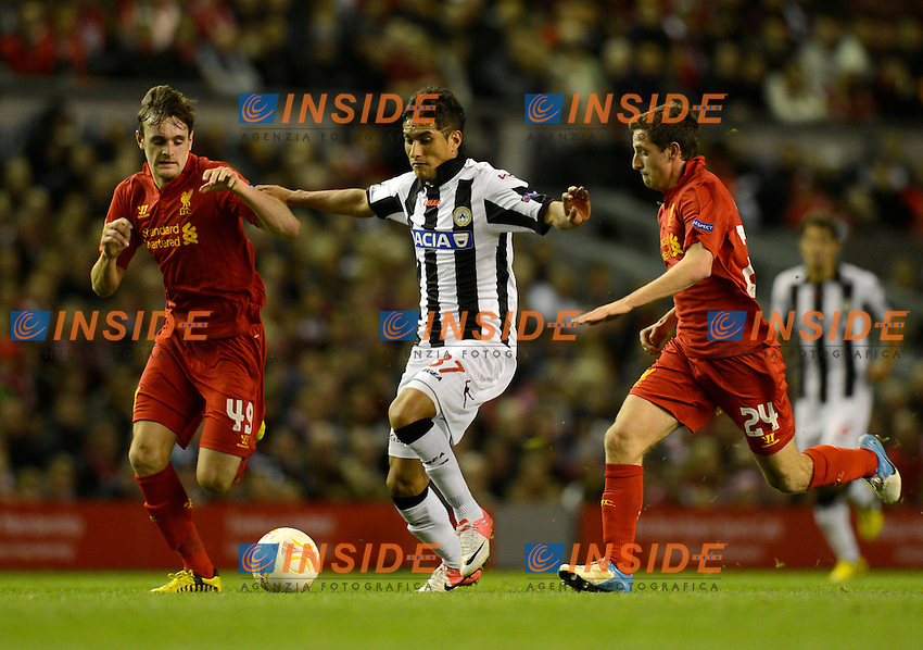 Roberto Pereyra of Udinese tussles with Jack Robinson of Liverpool and Joe Allen of Liverpool .Liverpool 4/10/2012 Anfield Stadium.Football Calcio 2012/2013 Europa League.Liverpool Vs Udinese.Foto  Simon Bellis/Sportimage/Insidefoto.Italy Only
