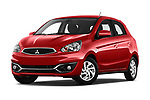 Stock pictures of low aggressive front three quarter view of 2019 Mitsubishi Spacestar Intense 5 Door Hatchback Low Aggressive