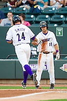 Joey DeMichele (18) of the Winston-Salem Dash slaps hands with Kevan Smith (24) as he crosses home plate after hitting a 2-run home run against the Lynchburg Hillcats at BB&T Ballpark on August 5, 2013 in Winston-Salem, North Carolina.  The Dash defeated the Hillcats 5-0.  (Brian Westerholt/Four Seam Images)