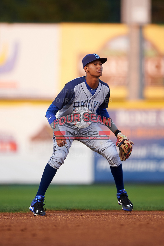 Brooklyn Cyclones shortstop Alfredo Reyes (8) during a game against the Tri-City ValleyCats on September 1, 2015 at Joseph L. Bruno Stadium in Troy, New York.  Tri-City defeated Brooklyn 5-4.  (Mike Janes/Four Seam Images)