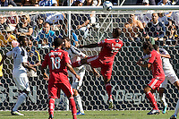 Chicago Fire forward Collins John heads the ball towards the goal. The Chicago Fire beat the LA Galaxy 3-2 at Home Depot Center stadium in Carson, California on Sunday August 1, 2010.