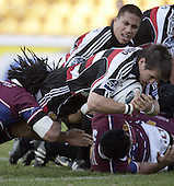 Captain Ben Meyer dives over for 1 of his 2 tries during the Air NZ Cup game between the Counties Manukau Steelers and Southland played at Mt Smart Stadium on 3rd September 2006. Counties Manukau won 29 - 8.