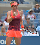Simone Halep (ROU) defeats Marina Erakovic (NZL) 6-2, 3-0 (ret) at the US Open in Flushing, NY on September 1, 2015.