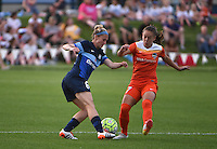 Kansas City, MO - Saturday May 07, 2016: FC Kansas City midfielder Jen Buczkowski (6) and Houston Dash midfielder Andressa Machry (17) go for the ball during a regular season National Woman's Soccer League (NWSL) match at Swope Soccer Village. Houston won 2-1.