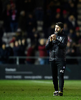 Lincoln City manager Danny Cowley applauds the fans at the final whistle<br /> <br /> Photographer Chris Vaughan/CameraSport<br /> <br /> The EFL Sky Bet League Two - Lincoln City v Exeter City - Tuesday 26th February 2019 - Sincil Bank - Lincoln<br /> <br /> World Copyright © 2019 CameraSport. All rights reserved. 43 Linden Ave. Countesthorpe. Leicester. England. LE8 5PG - Tel: +44 (0) 116 277 4147 - admin@camerasport.com - www.camerasport.com
