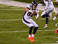 Canton, Ohio - August 1, 2019: Denver Broncos tight end Troy Fumagalli #84 makes a reception during a pre-season game against the Atlanta Falcons at the Tom Benson Hall of Fame stadium in Canton, Ohio August 1, 2019. This game marks start of the 100th season of the NFL. (Photo by Don Baxter/Media Images International)