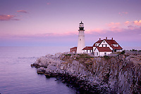 lighthouse, Cape Elizabeth, Portland Head Light, Maine, ME, Portland Head Light on Cape Elizabeth at sunset in Fort Williams Park on the Atlantic Ocean.