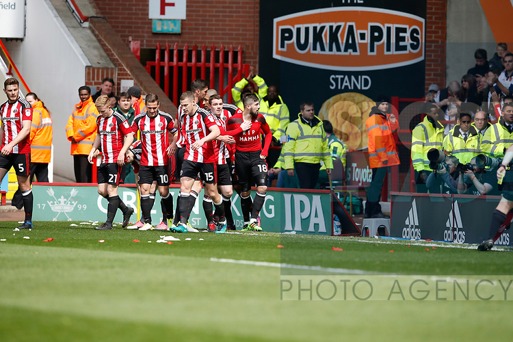 Kieron Freeman of Sheffield Utd celebrates his goal during the English League One match at  Bramall Lane Stadium, Sheffield. Picture date: April 30th 2017. Pic credit should read: Simon Bellis/Sportimage