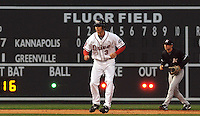 April 3, 2008: Josh Reddick takes a lead in front of the new Fluor Field sign during the season opener against the Kannapolis Intimidators at Fluor Field at the West End in Greenville, S.C. Photo by:  Tom Priddy/Four Seam Images