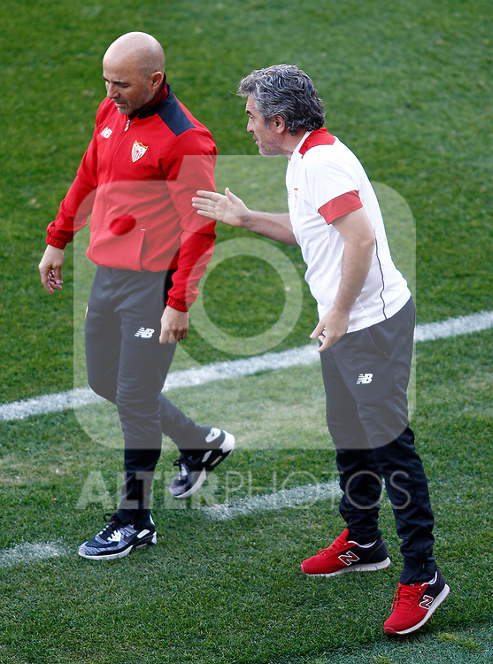 Sevilla FC's coach Jorge Sampaoli (l) with his second Juanma Lillo during La Liga match. March 19,2017. (ALTERPHOTOS/Acero)
