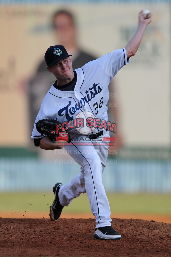 Asheville Tourists pitcher Tyler Matzek #36 delivers a pitch during game against the Kannapolis Intimidators at McCormick Field on July 20, 2011 in Asheville, North Carolina. Asheville won the game 5-4.   (Tony Farlow/Four Seam Images)