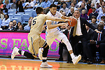 18 November 2015: North Carolina's Justin Jackson (44) and Wofford's Eric Garcia (5). The University of North Carolina Tar Heels hosted the Wofford College Terriers at the Dean E. Smith Center in Chapel Hill, North Carolina in a 2015-16 NCAA Division I Men's Basketball game. UNC won the game 78-58.