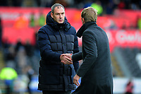 Paul Clement Manager of Reading shakes Graham Potter Manager of Swansea City at full time during the Sky Bet Championship match between Swansea City and Reading at the Liberty Stadium in Swansea, Wales, UK. 27th October, 2018
