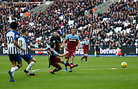 1st February 2020; London Stadium, London, England; English Premier League Football, West Ham United versus Brighton and Hove Albion; Robert Snodgrass of West Ham United shoots to score a goal in the 45th minute for 2-0