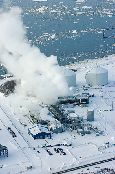 A liquified natural gas plant owned by ConocoPhillips and Marathon Oil Corp. is pictured from the air. The Nikiski, Alaska, plant is the only LNG facility permitted in the United States to export product from the U.S. It will close in late 2011. ConocoPhillips cited declining market conditions in Asia and difficulty obtaining enough natural gas in Alaska as reasons for closing the plant.