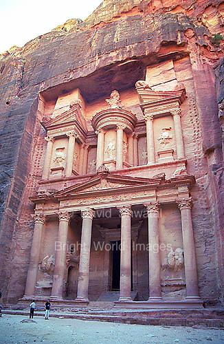 The facade of Al Khasneh at Petra in Jordan.