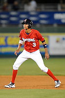 Brevard County Manatees shortstop Yadiel Rivera #3 during a game against the Daytona Cubs at Spacecoast Stadium on April 5, 2013 in Viera, Florida.  Daytona defeated Brevard County 8-0.  (Mike Janes/Four Seam Images)