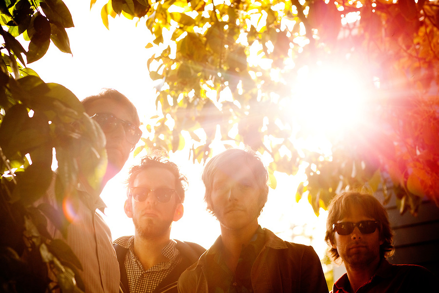Los Angeles, Calif., April 26, 2009 - From left, Lewis Nicolas Pesacov, Ariel Rechtshaid, Matt Popieluch, and Garrett Ray of the band Foreign Born in Rechtshaid's backyard in the Echo Park section of Los Angeles.