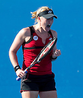 ELENA BALTACHA (GBR) against STEPHANIE FORETZ GACON (FRA) in the first round of the Women's Singles. Stephanie Foretz Gacon beat Elena Baltacha 6-2 6-4..16/01/2012, 16th January 2012, 16.01.2012..The Australian Open, Melbourne Park, Melbourne,Victoria, Australia.@AMN IMAGES, Frey, Advantage Media Network, 30, Cleveland Street, London, W1T 4JD .Tel - +44 208 947 0100..email - mfrey@advantagemedianet.com..www.amnimages.photoshelter.com.