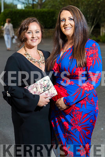 Sinead Kavanagh (Abbeydorney) and Vanessa Henry (Lixnaw) at the Rose of Tralee fashion show at the dome on Sunday night.