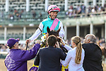 November 3, 2018: Expert Eye #7, ridden by Frankie Dettori, wins the Breeders' Cup Mile on Breeders' Cup World Championship Saturday at Churchill Downs on November 3, 2018 in Louisville, Kentucky. Candice Chavez/Eclipse Sportswire/CSM