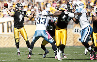 PITTSBURGH, PA - OCTOBER 09:  Daniel Sepulveda #9 of the Pittsburgh Steelers throws a pass during a fake punt against the Tennessee Titans during the game on October 9, 2011 at Heinz Field in Pittsburgh, Pennsylvania.  (Photo by Jared Wickerham/Getty Images)