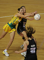 16.11.2007 Australian Liz Ellis and Silver Ferns Irene Van Dyk in action during the Silver Ferns v Australia Final at the New World Netball World Champs held at Trusts Stadium Auckland New Zealand. Mandatory Photo Credit ©Michael Bradley.