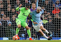 FC Schalke 04&rsquo;s Benjamin Stambouli holds off the challenge from Manchester City's Sergio Aguero<br /> <br /> Photographer Rich Linley/CameraSport<br /> <br /> UEFA Champions League Round of 16 Second Leg - Manchester City v FC Schalke 04 - Tuesday 12th March 2019 - The Etihad - Manchester<br />  <br /> World Copyright &copy; 2018 CameraSport. All rights reserved. 43 Linden Ave. Countesthorpe. Leicester. England. LE8 5PG - Tel: +44 (0) 116 277 4147 - admin@camerasport.com - www.camerasport.com