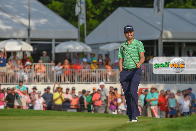 Justin Thomas (USA) is welcomed onto the green on 18 during 4th round of the World Golf Championships - Bridgestone Invitational, at the Firestone Country Club, Akron, Ohio. 8/5/2018.<br /> Picture: Golffile   Ken Murray<br /> <br /> <br /> All photo usage must carry mandatory copyright credit (© Golffile   Ken Murray)