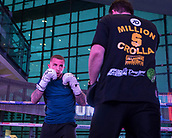 4th October 2017, National Football Museum, Manchester, England; Anthony Crolla and Ricky Burns public workout session; Sam Hyde sparring during his training session