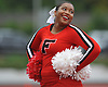 Tamiah Simpson has a laugh with her fellow Freeport varsity cheerleaders during a Nassau County Conference I varsity football game between the Red Devils and Oceanside at Freeport High School on Friday, Sept. 21, 2018.