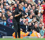 Jurgen Klopp manager of Liverpool shouts from the touchline during the premier league match at the Etihad Stadium, Manchester. Picture date 9th September 2017. Picture credit should read: David Klein/Sportimage