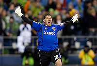 SEATTLE, WA--Real Salt Lake goalkeeper Nick Rimando celebrates his team's victory after the MLS Cup championships at Qwest field in Seattle. SUNDAY, NOVEMBER 22, 2009. PHOTO BY DON FERIA.