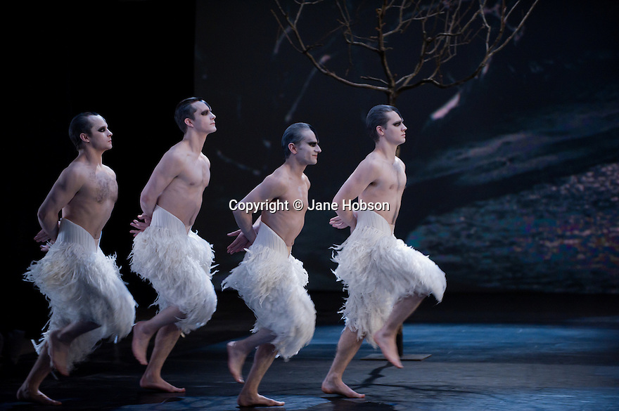 """London, UK. 06/12/11. """"Matthew Bourne's Christmas"""" is filmed at Ealing Studios. The show comprises extracts of ten of his finest works over his 25 year career. Picture shows an extract from """"Swan Lake"""". Dancers are: Danny Collins, Gavin Persand, Phil Jack Gardner, Luke Murphy."""