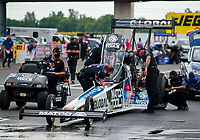 Jul 19, 2020; Clermont, Indiana, USA; NHRA top fuel driver Antron Brown during the Summernationals at Lucas Oil Raceway. Mandatory Credit: Mark J. Rebilas-USA TODAY Sports